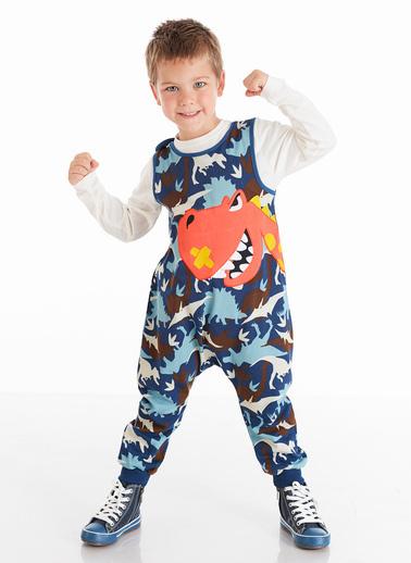 Denokids Haylaz Dino Erkek Çocuk Tulum Mavi